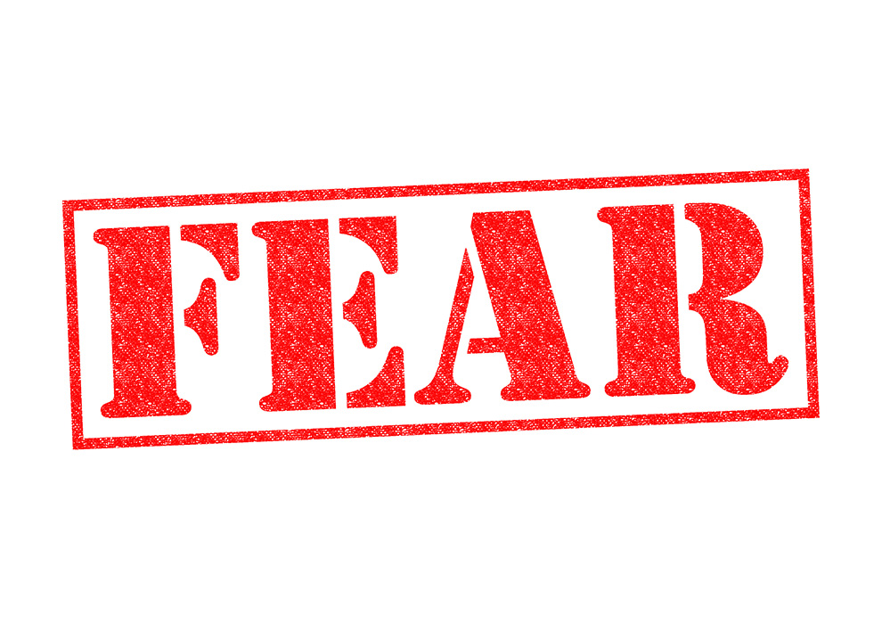FEAR Rubber Stamp over a white background.